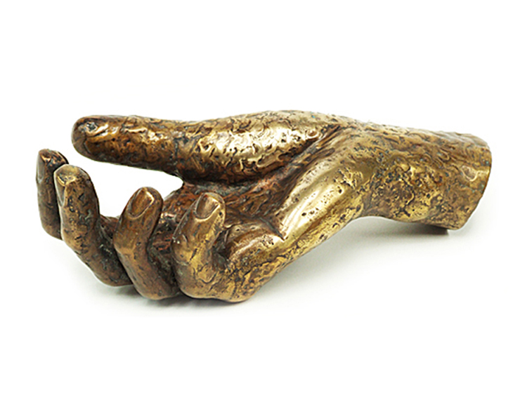 Brass hand sculpture
